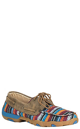 Twisted X Women's Brown & Blue Serape Driving Moc Lace Up Casual Shoes