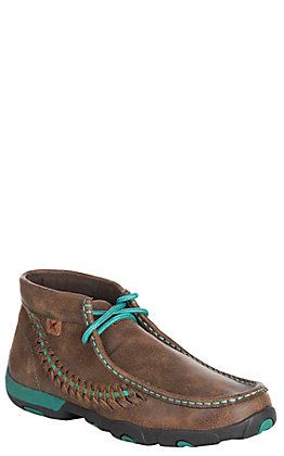 Twisted X Women's Brown with Turquoise Accents Driving Moccasin Casual Shoes
