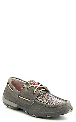 Twisted X Women's Grey Tooled Driving Moccasin Casual Shoes