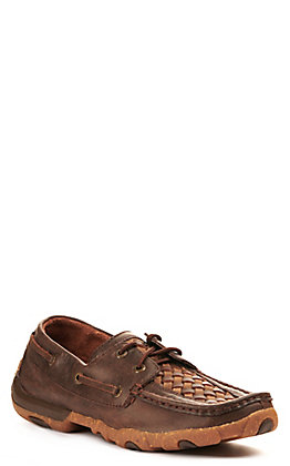 Twisted X Women's Brown and Tan Basketweave Driving Moccasin Casual Shoes