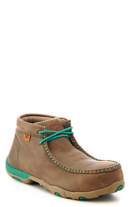 Twisted X Women's Brown Bomber with Turquoise Laces Chukka Driving Moc Alloy Toe Work Shoe