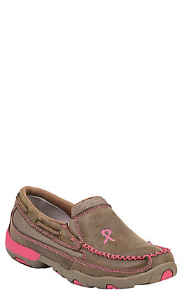 Twisted X Tough Enough To Wear Pink Women's Bomber Brown Slip On Casual Shoes