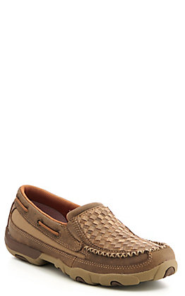 Twisted X Women's Tan Woven Leather Slip On Driving Mocs