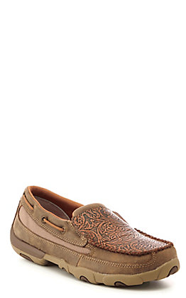 Twisted X Women's Brown Leather Tooled Slip On Driving Mocs
