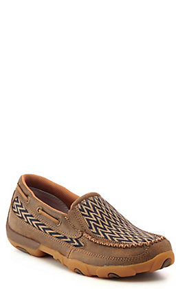 Twisted X Women's Brown Leather Chevron Slip On Driving Mocs