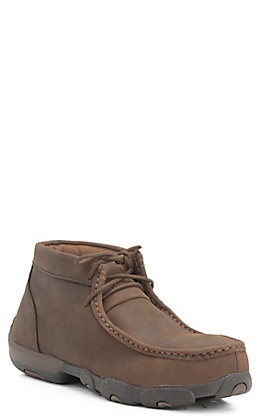 Twisted X Women's Distressed Brown Chukka Driving Moc Steel Toe Work Shoe