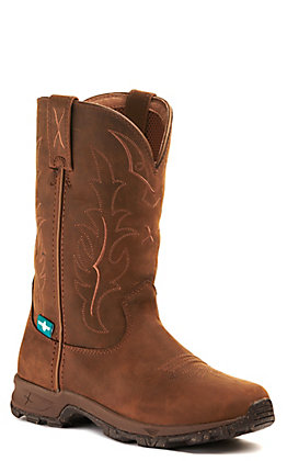 Twisted X Women's All Around Distressed Saddle Brown Waterproof Round Toe Boot