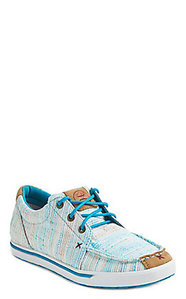 Twisted X Women's HOOey Loper Turquoise and White Fabric Lace Up Sneakers Casual Shoe