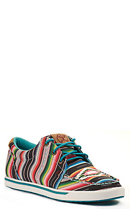 Twisted X Women's HOOey Loper Black Serape Fabric Lace Up Sneakers Casual Shoe