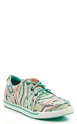 Twisted X Women's HOOey Mint Multi Aztec Print Canvas Sneakers Casual Shoes