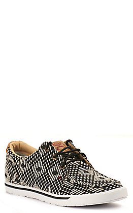 Twisted X Women's HOOey Loper Black and White Geometric Fabric Lace Up Sneakers Casual Shoe