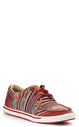 Twisted X Women's HOOey Loper Fiesta Aztec Tan and Red Fabric Lace Up Sneakers Casual Shoe