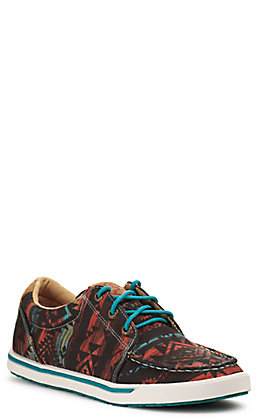 Twisted X Women's HOOey Loper Midnight Aztec Chocolate Fabric Lace Up Sneakers Casual Shoe