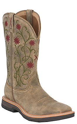 Twisted X Lite Work Ladies Brown Bomber with Floral Design Square Steel Toe Work Boot