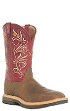 Twisted X Women's Distressed Latigo and Red Steel Square Toe Work Boot