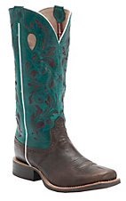 XANTwisted X Women's Chocolate w/Dark Teal Top & Embroidery Double Welt Square Toe Western Boots