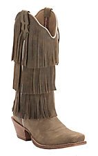 Twisted X Steppin Out Women's Brown Bomber with Fringe Punchy Square Toe Western Boot