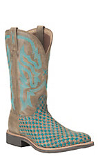 Twisted X Women's Brown and Turquoise Check with Brown Upper Western Square Toe Boots