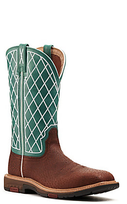 Twisted X Women's Tobacco Brown and Turquoise Wide Square Toe Work Boot