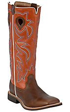 XKH Twisted X Youth Brown with Orange Tall Top Square Toe Buckaroo Western Boots