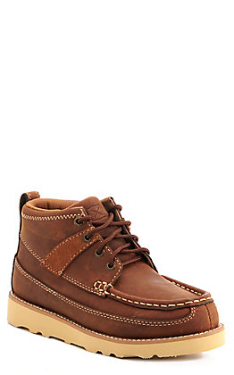 Twisted X Youth Brown Oiled Saddle Crepe Wedge Lacer Casual Shoes