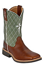 XKH Twisted X Youth Pebble Brown with Green Cross Diamond Stitch Square Toe Western Boot