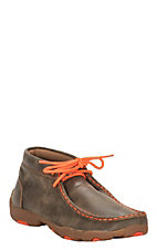 Twisted X Youth Bomber Brown with Neon Orange Driving Moccasin Casual Shoe
