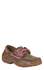 Twisted X Tough Enough To Wear Pink Kids Bomber Brown Lace Up Casual Shoes