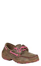 Twisted X Tough Enough To Wear Pink Youth Bomber Brown Lace Up Casual Shoes