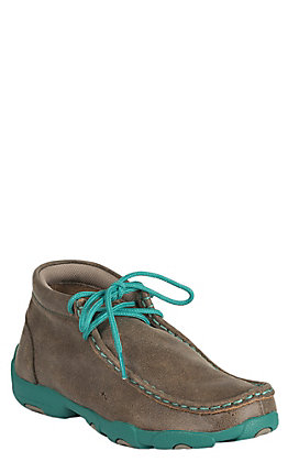 Twisted X Youth Bomber Brown with Turquoise Driving Moccasin Casual Shoe