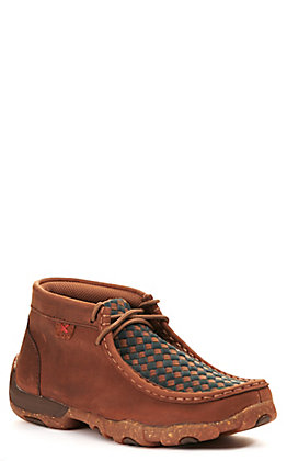 Twisted X Kids Oiled Saddle Brown and Midnight Blue Basketweave Driving Moccasin