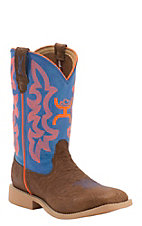 Twisted X HOOey Youth Cognac Bullhide with Neon Blue & Orange  Logo Top Square Toe Western Boots