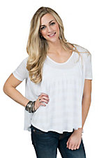 PPLA Women's White Stripe Short Sleeve Swing Tee