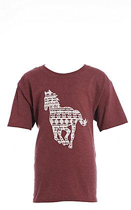 Jazzy Belle Girls' Maroon Aztec Horse Graphic T-Shirt
