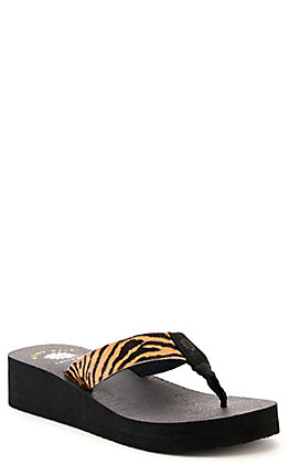 Yellow Box Women's Leonella Black with Tiger Print Wedge Flip Flops