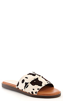 Yellow Box Women's Bellenos Cow Print Strap Slide Sandals