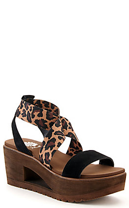 Yellow Box Women's Reston Black and Leopard Print Wedge Sandals