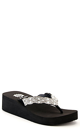 Yellow Box Women's Black with Clear Bling Wedge Flip Flops