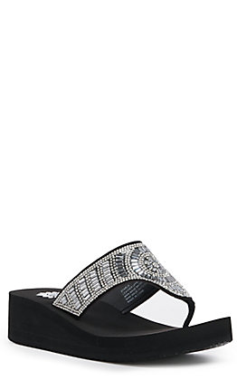 Yellow Box Women's Black with Clear Bling V-Strap Wedge Flip Flops