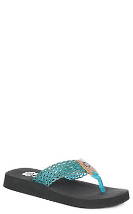 Yellow Box Women's Wally Turquoise Embossed Flip Flops
