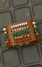 Pannee Multicolor Crystal Multi-Row Beaded Tan Leather Bracelet