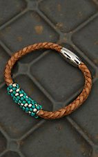Pannee Turquoise & Silver Beaded Tan Braided Leather Bracelet
