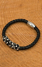 Pannee Black, Smokey Stone & Silver Beaded Black Braided Leather Bracelet
