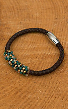 Pannee Green Teal Stone, Iridescent & Gold Beaded Chocolate Braided Leather Bracelet