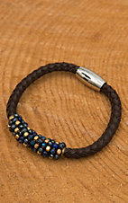 Pannee Blue Stone & Gold Beaded Chocolate Braided Leather Bracelet