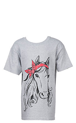 Girlie Girl Originals Girls Heather Grey Bandana Horse S/S T-Shirt
