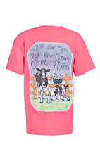 Girlie Girl Originals Youth Pink Cows Come Home Screen Print Short Sleeve T-Shirt