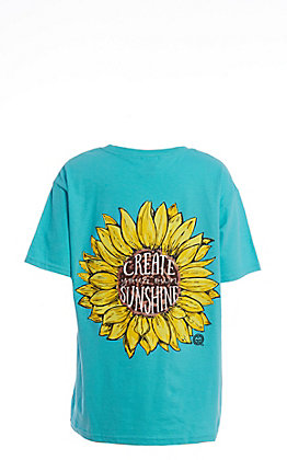 Girlie Girl Originals Girls' Turquoise Create Your Own Sun Graphic T-Shirt