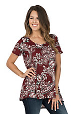 James C Women's Maroon & White Paisley Print Short Sleeve Fashion Shirt