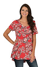 James C Women's Red & Black Paisley Print Short Sleeve Fashion Shirt